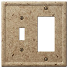 Tumbled TRAVERTINE Textured Stone Noce Resin Switch Plate & Outlet Covers