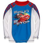 NEW Disney Cars Tow Mater Lightning McQueen Boys Swim Rash Guard Shirt XXS 2/3
