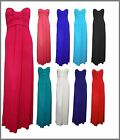 Womens Long Maxi Dress Strapless Bandeau Block Colour Sz 8-14, 10 Colours New