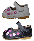 Girls Shoes Squeaky Birthday Toddlers Infant White or Black Leather Pink Flowers
