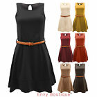 NEW LADIES WOMENS SLEEVELESS TAILORED BELTED SKATER PARTY EVENING DRESS TOP 8-14
