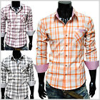 (CHS4) THELEES Mens Casual Stylish Stripe Patch Checker Shirts