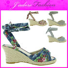 NEW LADIES STRAPPY ANKLE FLORAL PEEP TOE STRAW WEDGE PLATFORM SANDALS SIZES 3-8