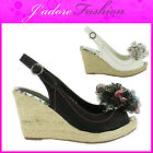 NEW LADIES HIGH HEEL PEEP TOE PLATFORM WEDGE CASUAL COURT SANDALS SIZES UK 3-8