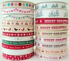 BY THE METRE - BERTIES BOWS PRINTED GROSGRAIN RIBBON christmas BUNTING buttons