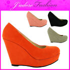 NEW LADIES CONCEALED PLATFORM STILETTO HIGH HEEL WEDGE COURT SHOES SIZES UK 3-8