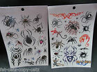 2 x SHEETS BOYS MENS BLACK TEMPORARY TATTOOS SCARY SPIDERS INSECTS 17+ TATTOOS