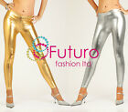 ☼ Sexy Shiny Wet Look SILVER & GOLD Full Ankle Length Leggings ☼ All Sizes! LSG