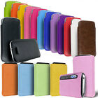 PREMIUM LEATHER SUEDE PULL TAB CASE COVER POUCH FITS VARIOUS MOBILE PHONES