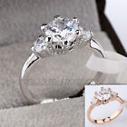 A1-R004 Fashion 3-Stone Engagement Wedding Ring 18KGP Swarovski Crystal
