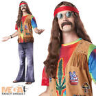 Deluxe Mens Hippie Fancy Dress Funky Hippy Adult 1960s-1970s Costume Outfit
