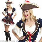 Adult Woman's Deluxe Buccaneer Cute Captain Pirate Fancy Dress Party Costume PS