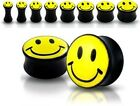 New Smiley Face Ear Plug Flesh Tunnel Stretcher 3mm 4mm 5mm 6mm 8mm 10mm Black