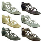 New Ladies Flat Open Toe Strappy Summer Gladiator Roman Sandals Size 3 4 5 6 7 8