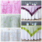 "60x60"" Embroidered Sheer Organza Table OVERLAY Unique Wedding Party Decorations"