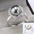 A1-R185 10mm Pearl Fashion Ring 18KGP use Swarovski Crystal