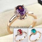 A1-R193 Oval Cut Amethyst Emerald Ruby Gemstone Ring 18KGP Swarovski Crystal