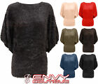 NEW LADIES FUR WOMENS KNITTED BATWING JUMPER DRESS TOP ONE SIZE 8 10 12 14