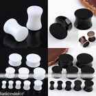 Black & White Solid Acrylic Flare Tunnels Ear Expander Plugs Stretch Gauges Punk