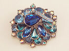 """BIJOUX 2.5"""" PINK or BLUE A/B CRYSTAL OVAL ACRYLIC FLORAL SILVER PIN BROOCH NEW"""