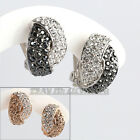 B1-E739 Fashion Stud Earrings Clip-on 18KGP Use Swarovski Crystal