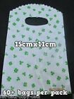 UNIQUE FASHION GREEN 4 LEAF CLOVER IRISH GOOD LUCK CARRIER BAGS 60-70 PER PACK
