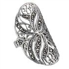 fancy rings - Extra Wide Fancy 925 Silver Marcasite Ring Size 6-9