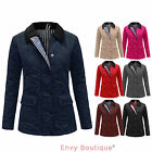 NEW WOMENS LADIES QUILTED PADDED BUTTON ZIP WINTER JACKET COAT TOP 8 10 12 14 16