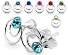 New Quality 925 Sterling Silver Double Circle Earring Stud with Coloured Gem