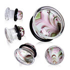 Pyrex Glass Green & Purple Single Flared Ear Plug Flesh Tunnel 8mm-16mm