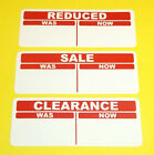 Red SALE, REDUCED, CLEARANCE Market, Shop, Retail Price Point Sticky Labels Tags