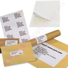 A4 SHEETS OF PLAIN WHITE SELF ADHESIVE ADDRESS LABELS 4 PER PAGE *SELECT QTY*