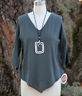 OH MY GAUZE Cotton  LYNN  V-Neck V-Hem Top  1 (S/M)  2 (L/XL)  3 (1X)  GRAPHITE