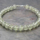 Prehnite Beaded Sterling Silver Wire Wrapped Bracelet