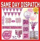 PINK GLITZ AGED BIRTHDAY PARTY DECORATIONS TABLEWARE PLATES NAPKINS 13-80