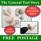 METAL GLASS COTTON DRILL MOUNTED POLISHING MOPS OR WHEELS CHOICE SHAPE & SIZE
