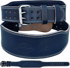 "RDX Blue Weight Lifting Power Leather Lever Belt Training Fitness Gym 4"" Support"