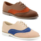 New Ladies Dolcis Flat Brogues Lace Up Pumps Shoes Flats Sizes UK 3 4 5 6 7 8