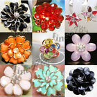 Lots Fashion Styles Mixed Colors Plastic Beads Flower Crystal Rhinestone Rings