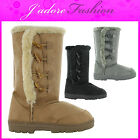 NEW LADIES CASUAL FURRY  FASHION MID CALF FUR LONG WINTER BOOTS SIZES UK 3-8