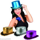 NEW ADULT SHINY METALIC FABRIC TOP HAT FANCY DRESS COSTUME SEQUIN NEW YEAR PARTY