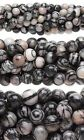 "Lot of 10, 16"" Strands Round Black & White Silk Stone Onyx Marble Gemstone Beads"
