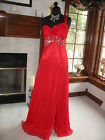 Party Time 6752 Red Pageant Chiffon Gala Gown Dress