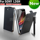 Real Genuine Leather Flip Case Cover for Sony Xperia Z L36i L36H Free Screen Pro