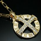 Solar Cross Roman Numeral Pendant Necklace 18K Gold & Silver Plated Mens Jewelry