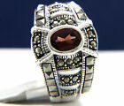 New Women's 925 Sterling Silver 0.73 ct Oval Cut Red Garnet CZ Engagement Ring
