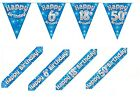 BLUE HOLOGRAPHIC FOIL BANNERS BUNTING & BADGES, HAPPY BIRTHDAY PLUS AGES 1 - 80
