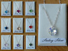 """L@@K! Crystal Heart Pendant on 16"""" Sterling Silver Chain!! Various Colours"""