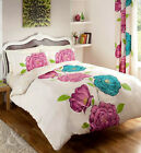 Iris Duvet Cover - Purple, Pink, Teal & Cream Bedding Floral Quilt Cover Bed Set
