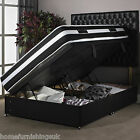 "New - Black Side Gas Lift Ottoman Divan Bed - 4ft 6"" Double - New Delivery"